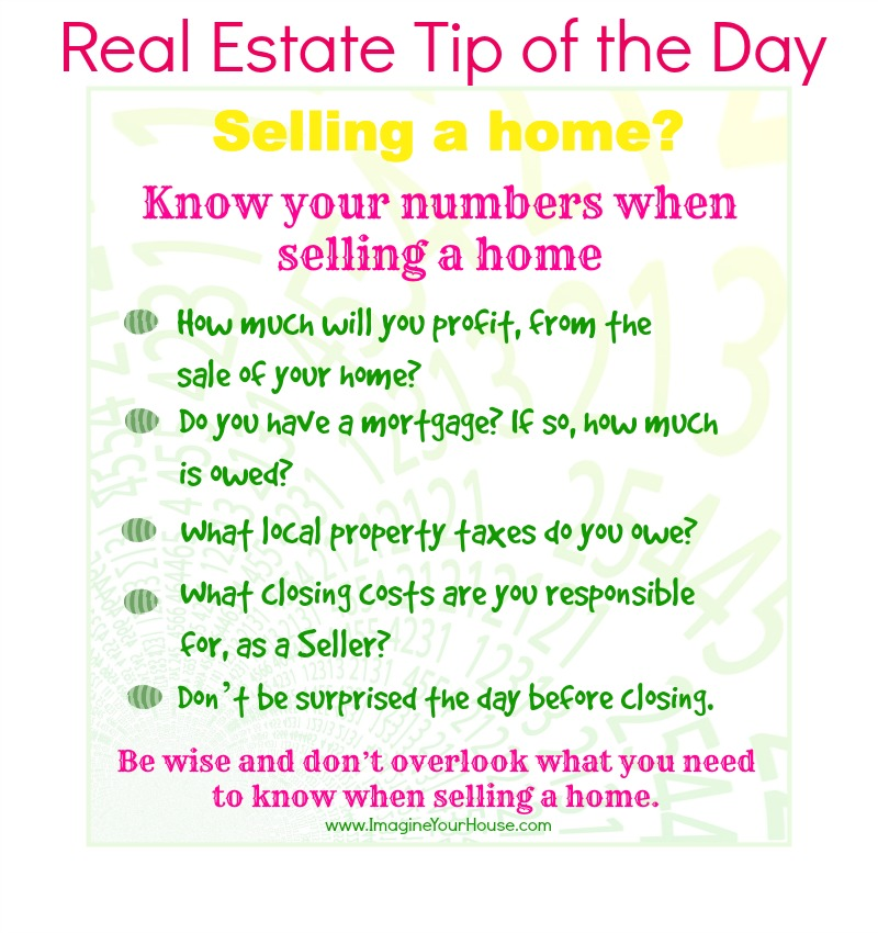 Know your numbers when selling a home