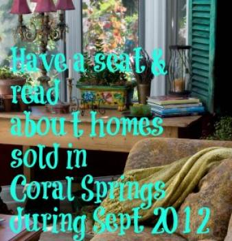 Market Statistics for Coral Springs Home Sales during Sept 2012.